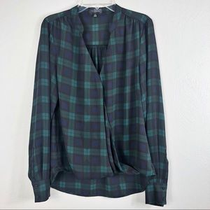 The Limited Plaid Crossover Long Sleeve Blouse